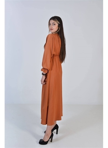 Zeren Kadın Kiremit Kol Bel Lastikli Elbise Kiremit
